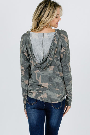 The Camo Hooded Button Up Top