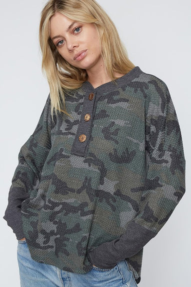 Carrick Camo Button Top