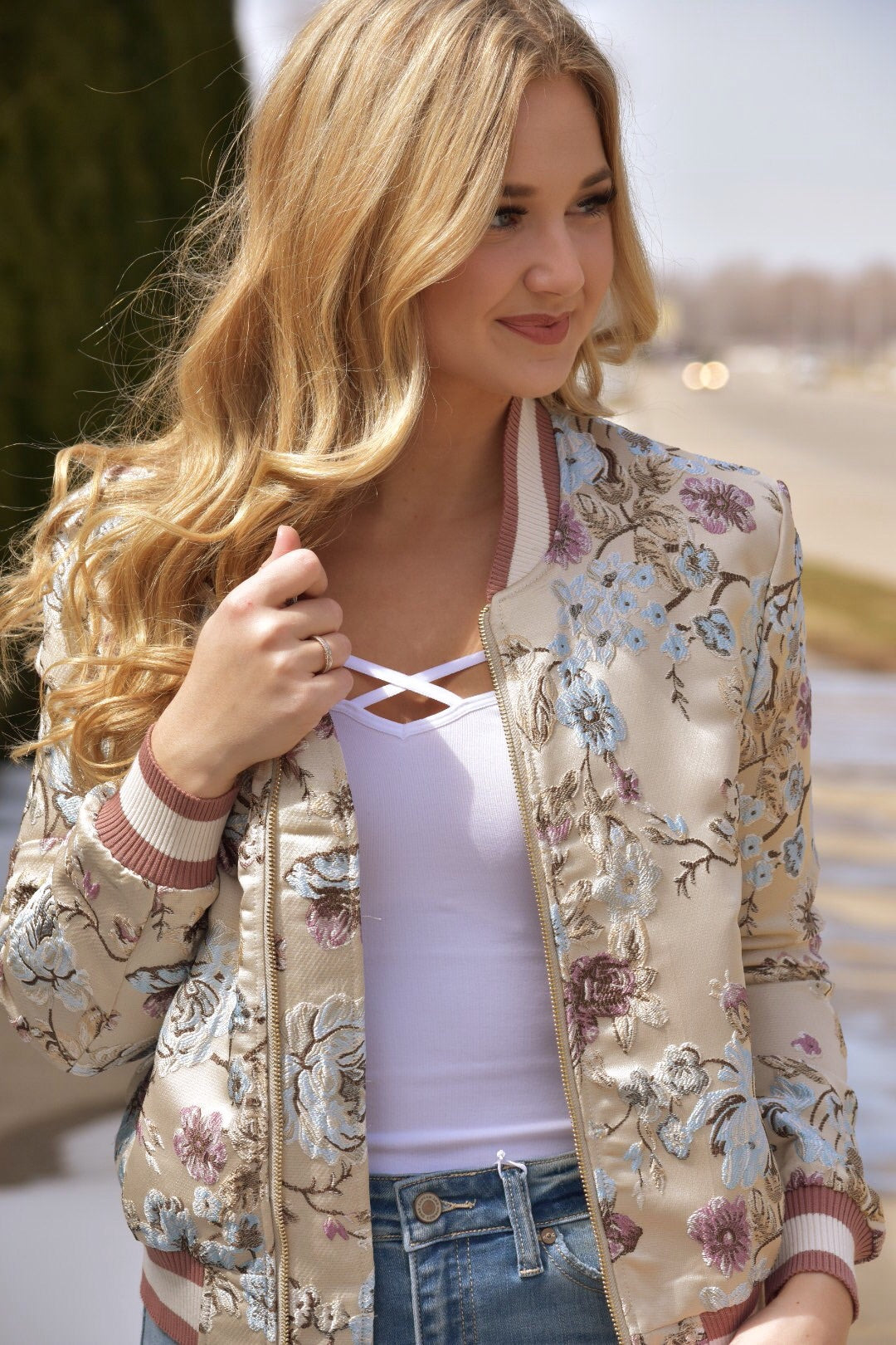 Baby Doll Embroidered Bomber Jacket