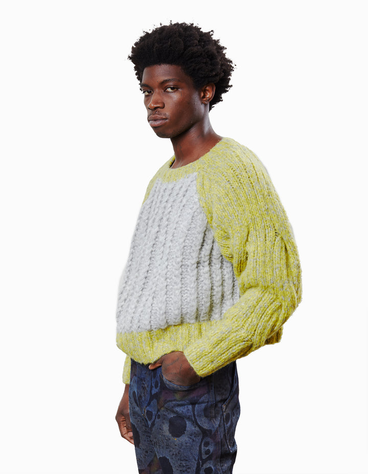 CONTRAST CABLE KNIT SWEATER