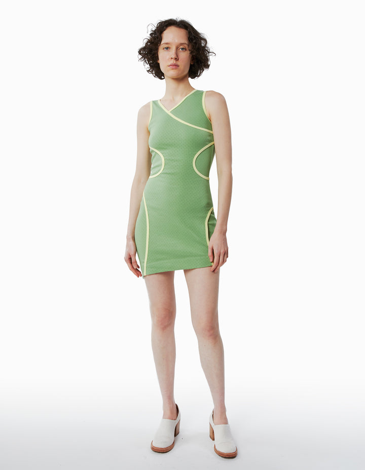 SURFACE DRESS IN PISTACHIO