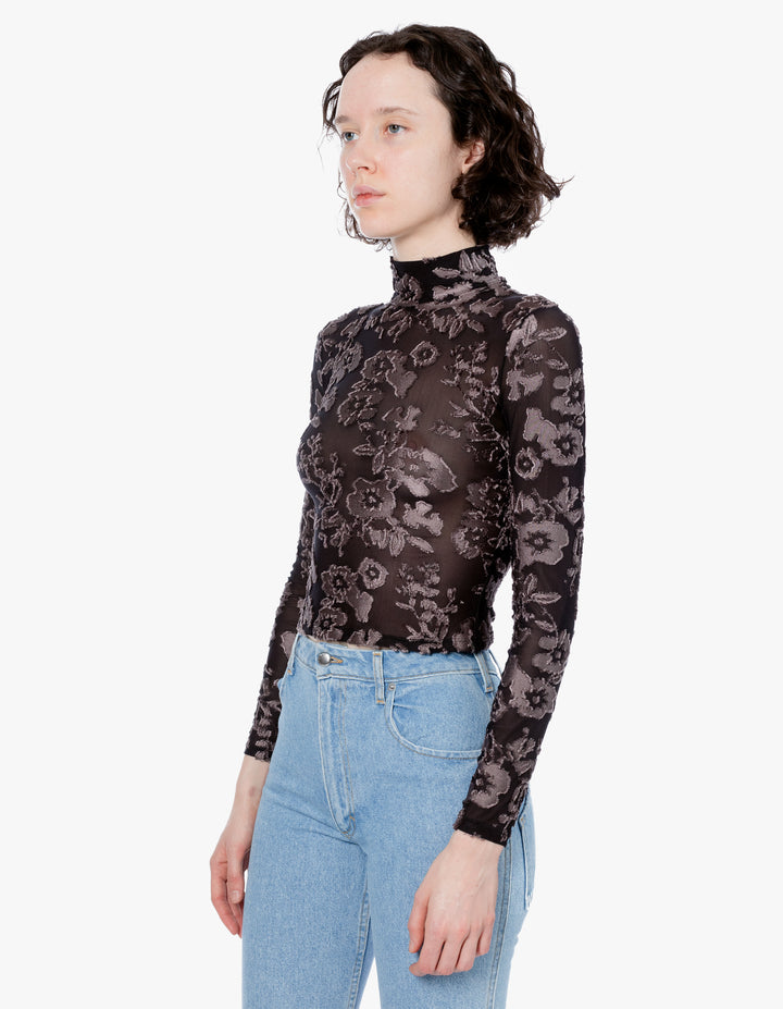 SHRUNK TURTLENECK STONE FLORAL