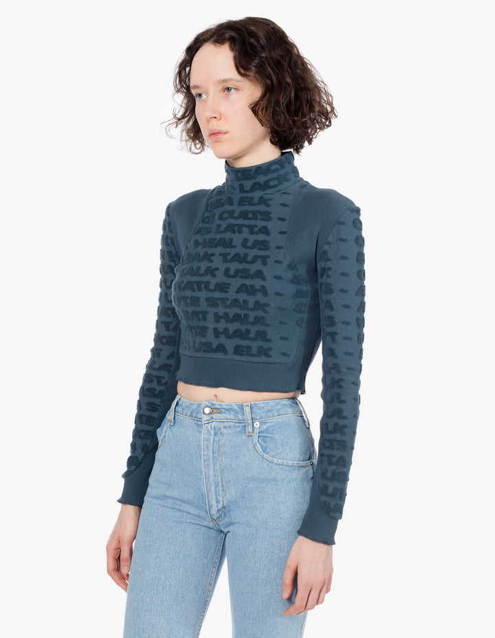 ANAGRAM CROPPED TURTLENECK IN BLUE HAZE