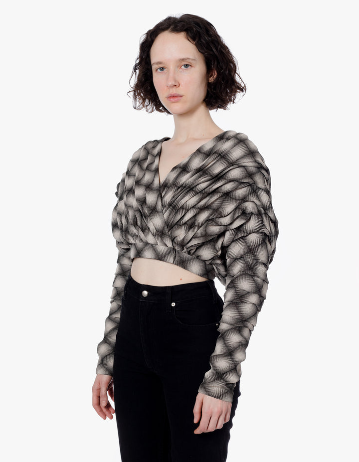 RIPPLE BLOUSE OPTIC GRID
