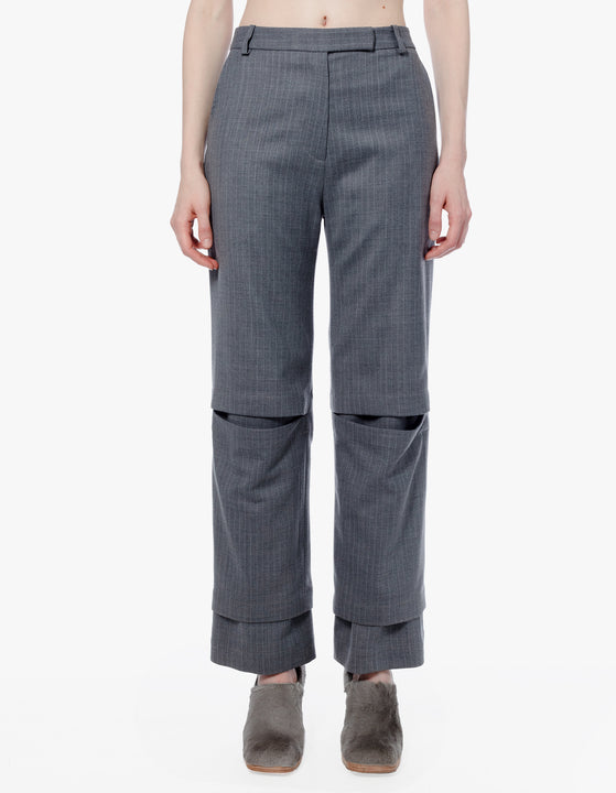 STAGGERED TROUSER IN GREY PINSTRIPE