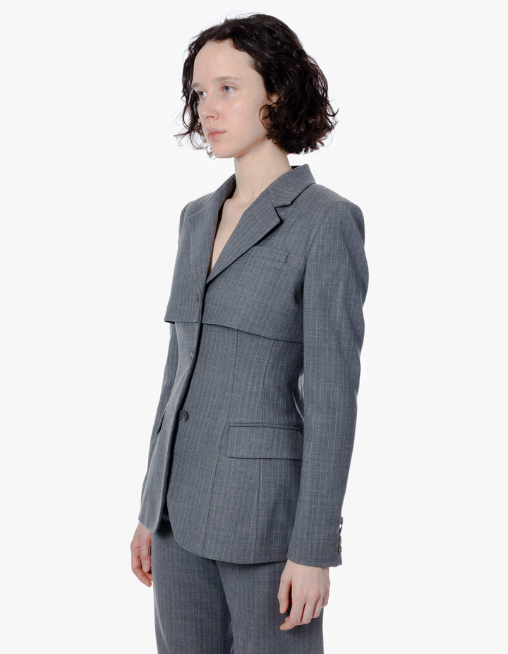 ABBREVIATED BLAZER IN GREY PINSTRIPE