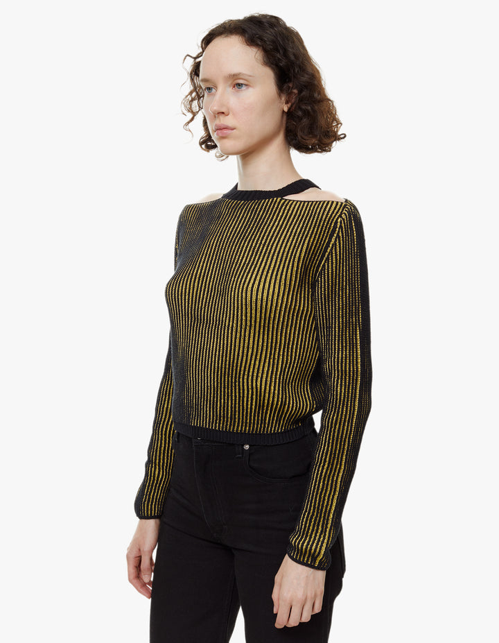 CLAVICLE SWEATER MUSTARD AND BLACK