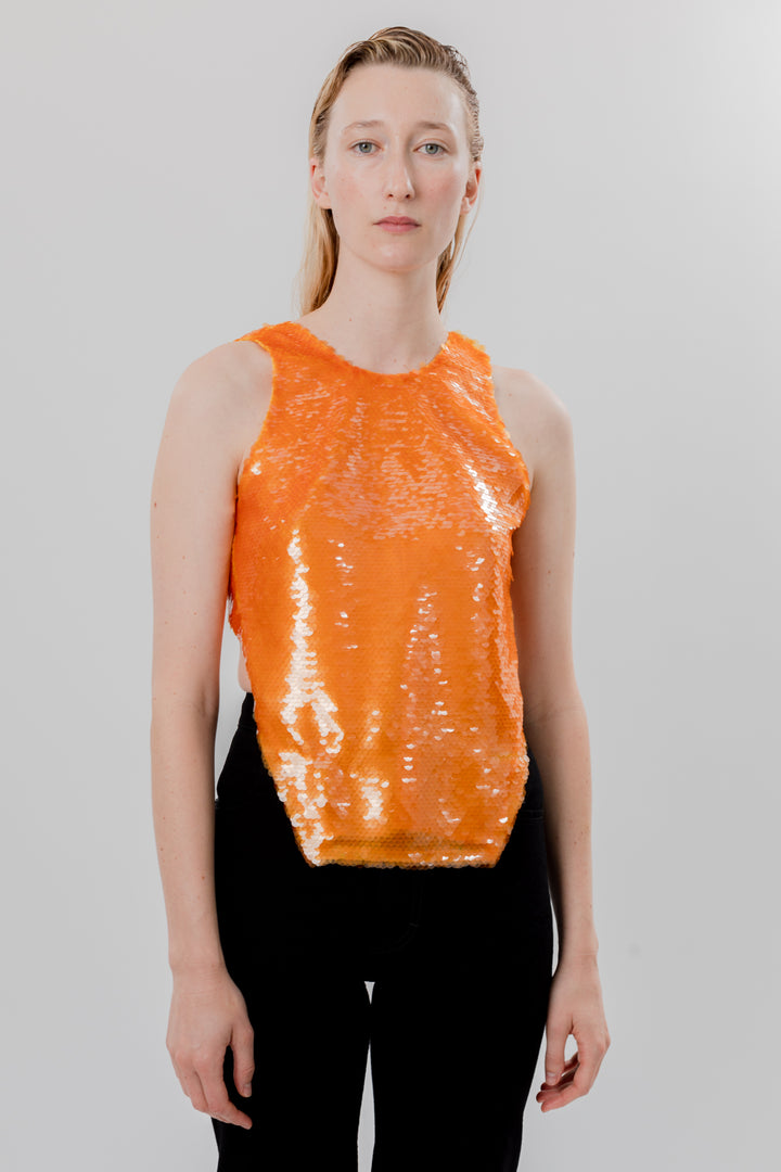 Sequin Tie Top Orange