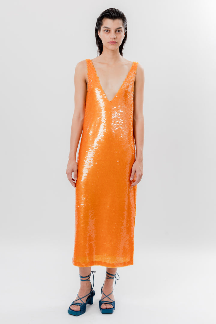Sequin V Neck Dress Orange