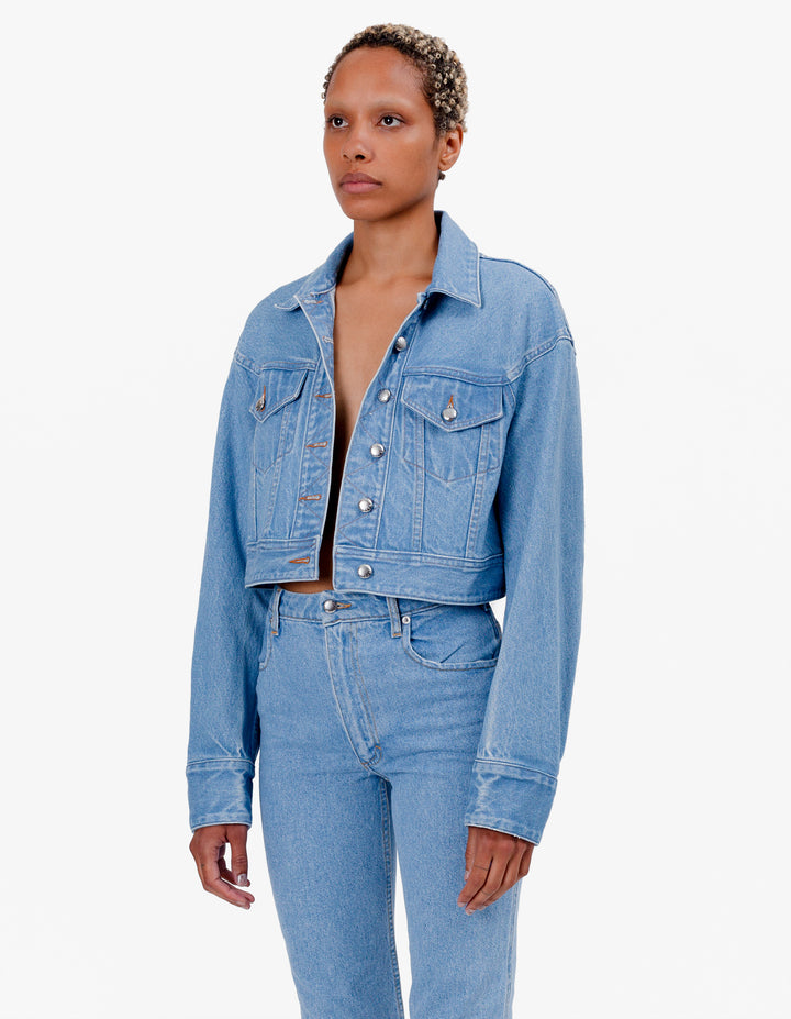 CROPPED DENIM JACKET TRUE BLUE