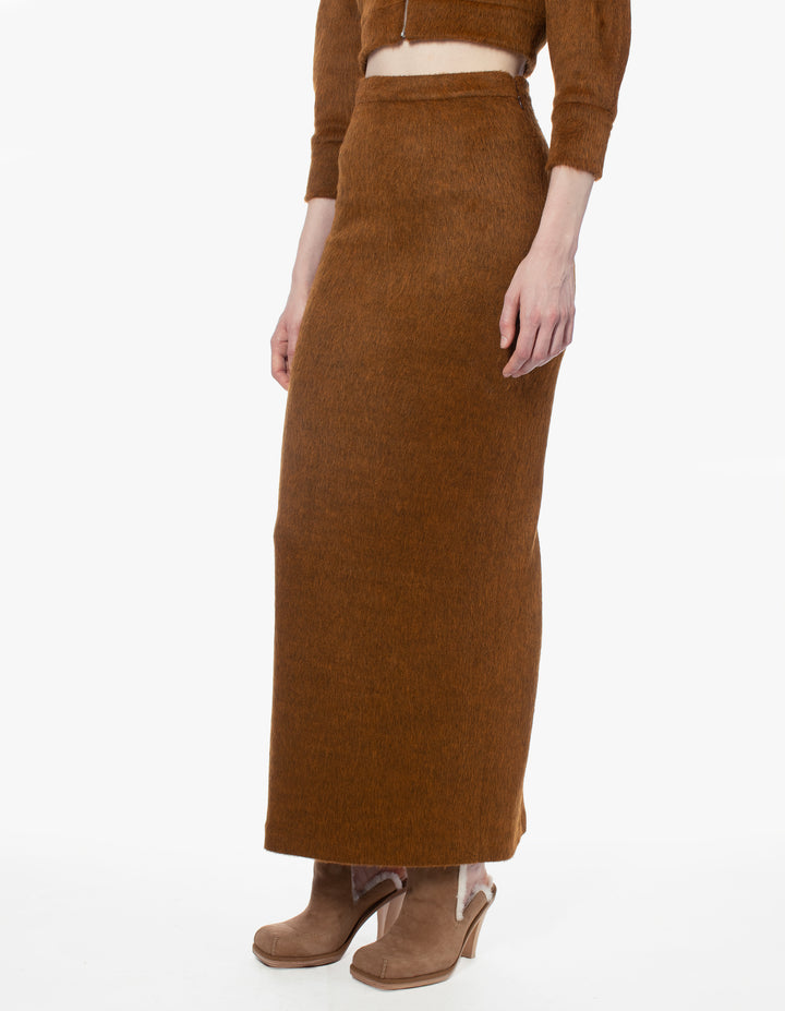 FUZZ SKIRT IN RUST MELANGE