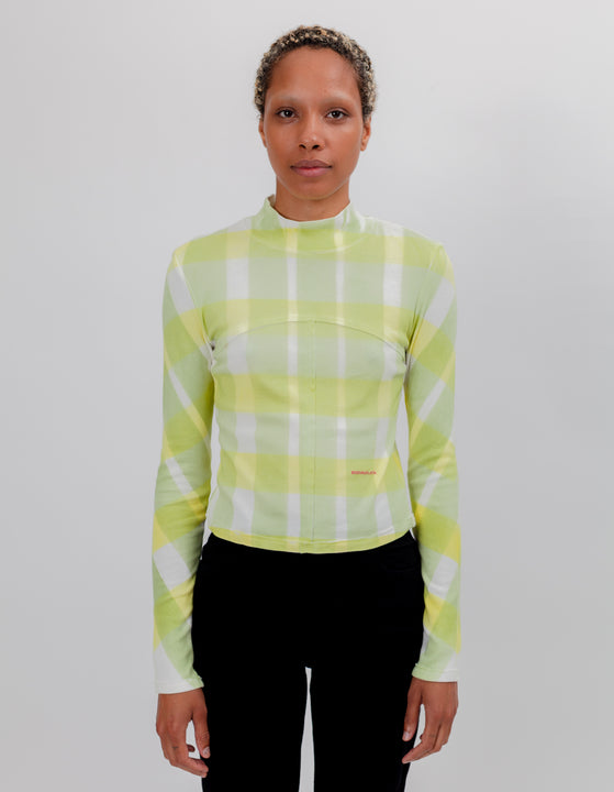 LAPPED BABY TURTLENECK YELLOW GRID