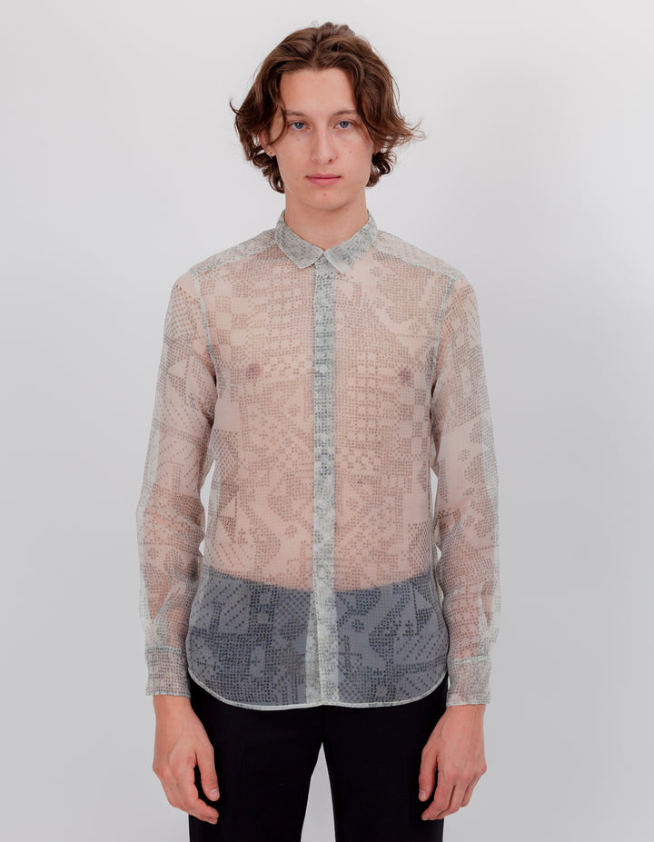 SLIM BUTTON DOWN GRAPH PAPER ORGANZA