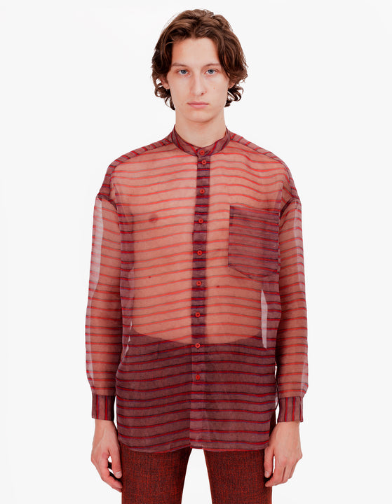 EL BUTTON DOWN RED BROWN STRIPE