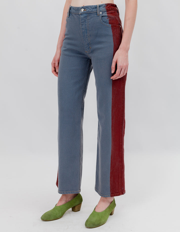 WIDE LEG JEANS GREY RED TIP