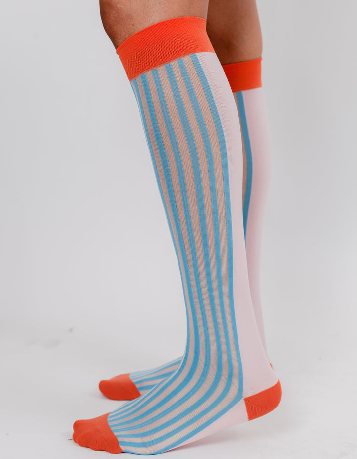 HIGH SOCK BLUE ORANGE PINK