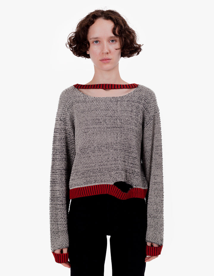 WIGGLY ROAD SWEATER OAT & BLACK