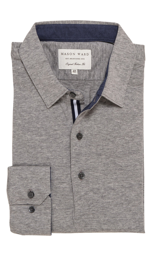 Mason Ward Oskar Knit Fashion Fit/ Regular Cuff Shirt Grey