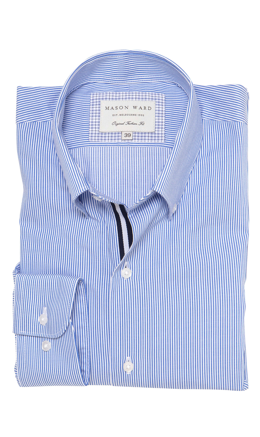 Mason Ward Helsingor Button Down Fine Stripe Men's Fashion Fit/ Regular Cuff Shirt