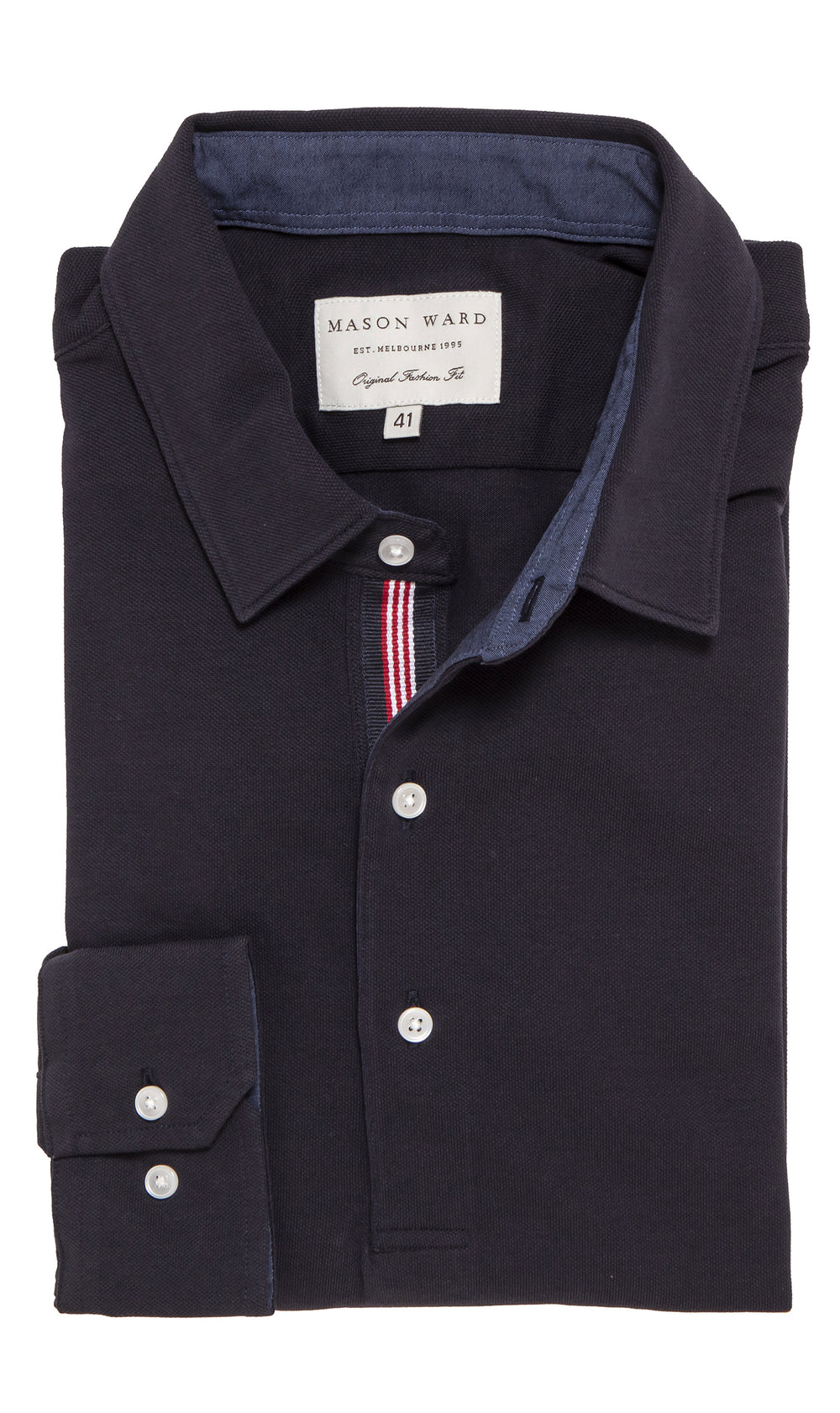 Mason Ward Oskar Knit Fashion Fit/ Regular Cuff Shirt Navy