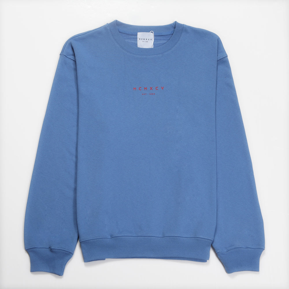 MCMXCV Cotton Terry Unisex Oversize Sweater Paris Blue