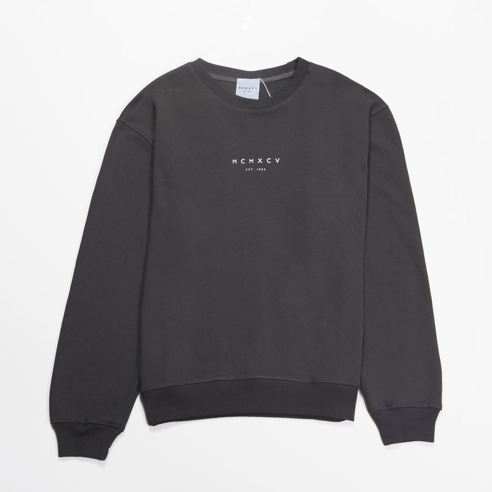 MCMXCV Cotton Terry Unisex Oversize Sweater Graphite Black