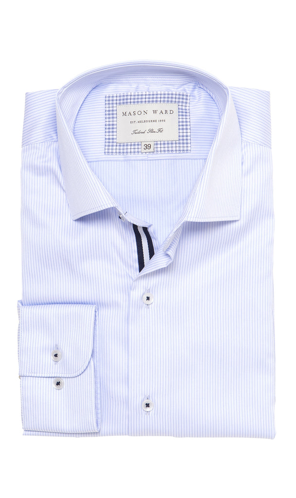 Mason Ward Orebro Luxury Blue Twill Slim Fit/ Regular Cuff Shirt
