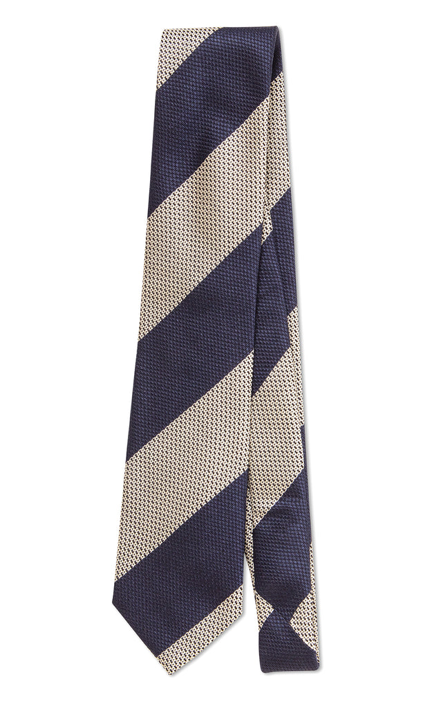 Firenze Tie White Gold Navy Stripe - MCM Studio