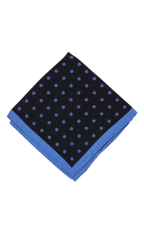 MCM Studio Siena Navy Cobalt Floral Wool Pocket Square