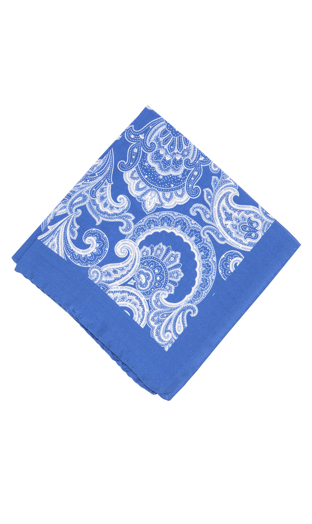 Atlantis Silk Blue Paisley Pocket Square