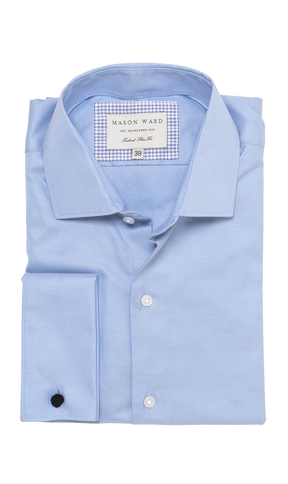 Mason Ward Hansen Blue Oxford Slim Fit/ Double Cuff Shirt
