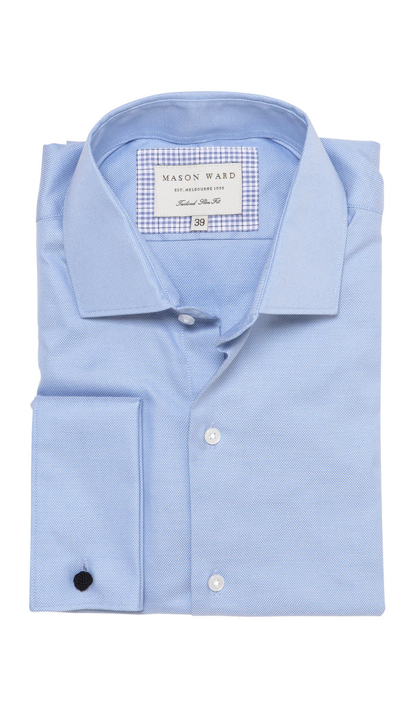 Mason Ward Hyllis Blue Oxford Slim Fit/ Double Cuff Shirt