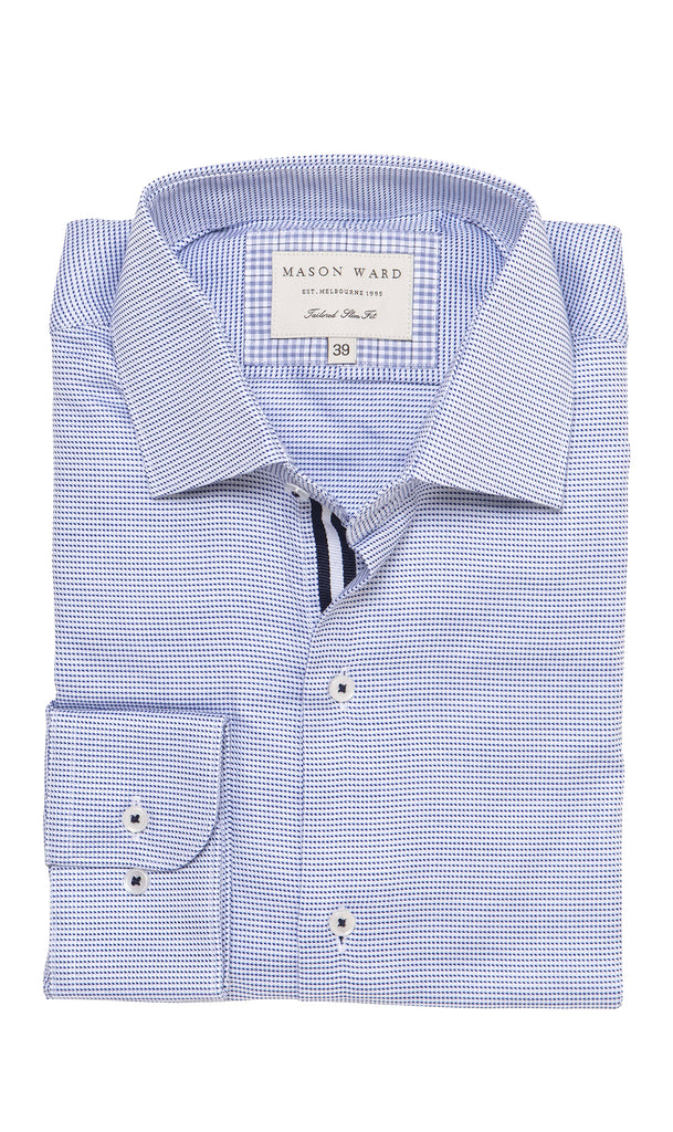 Mason Ward Norse Blue Men's Slim Fit/ Regular Cuff Shirt