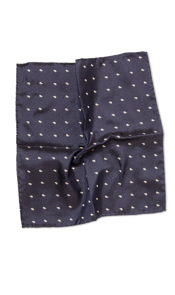 Positano Navy Gold Pocket Square - MCM Studio