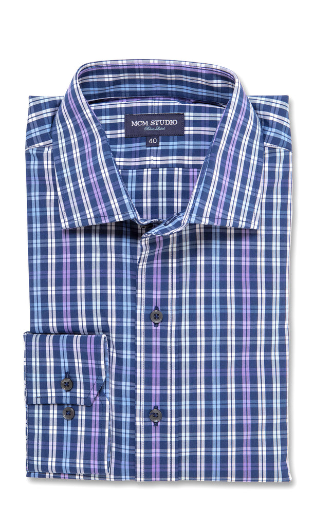 Argo Indigo Check - Men's Fashion Fit/ Button Cuff - MCM Studio