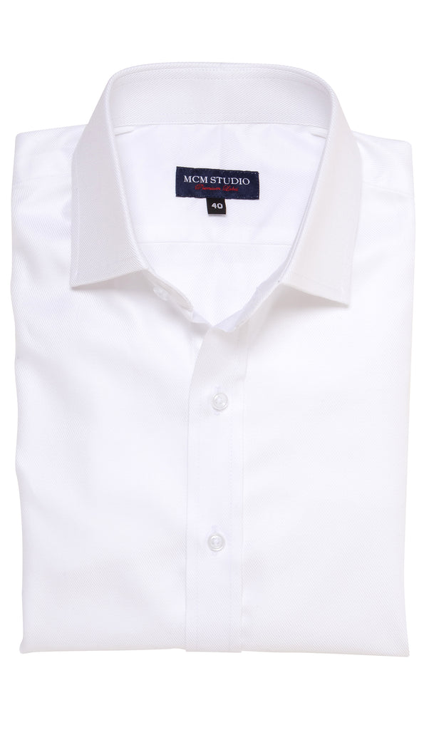 Eton Easy Care White Cavalry Twill Shirt - MCM Studio