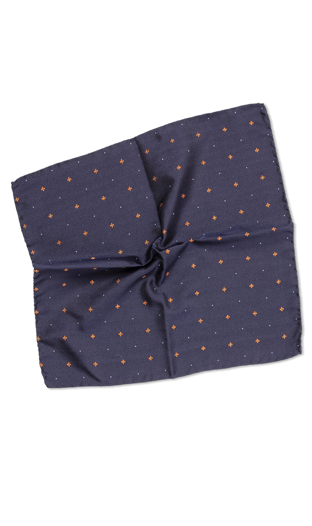 Elba Navy Orange Pocket Square - MCM Studio