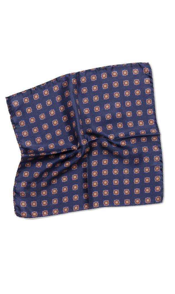 Cerrini Navy Gold Pocket Square - MCM Studio