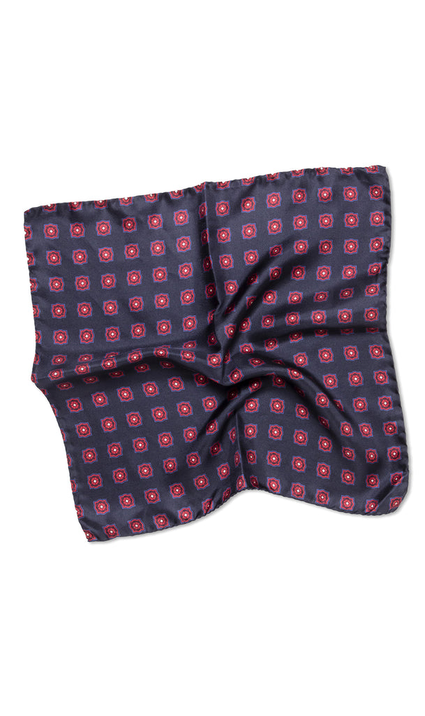 Cerrini Navy Red Pocket Square - MCM Studio
