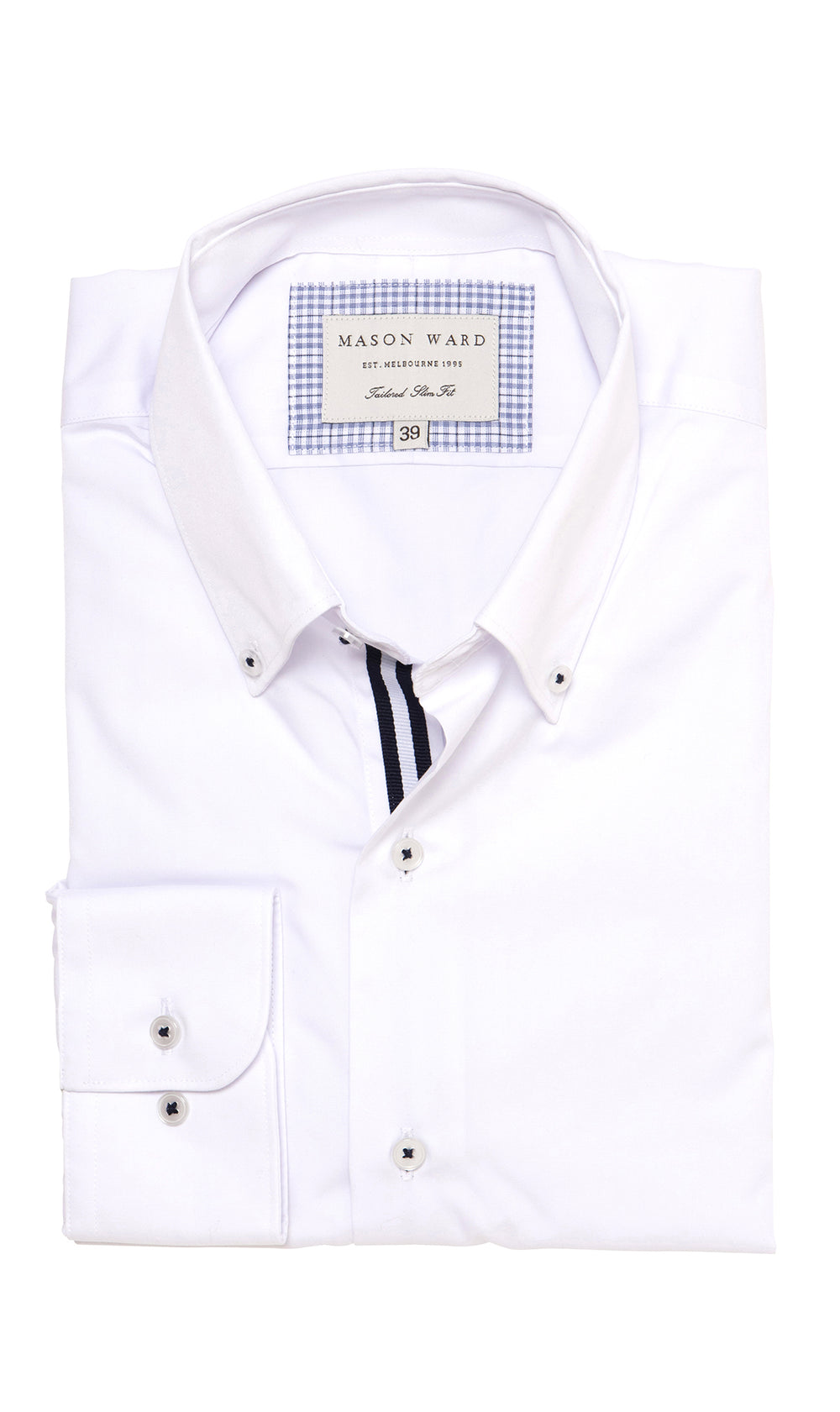 Mason Ward Berlin White Button Down Slim Fit/ Regular Cuff Shirt White