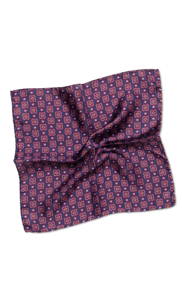 Carlo Navy Red Pocket Square - MCM Studio