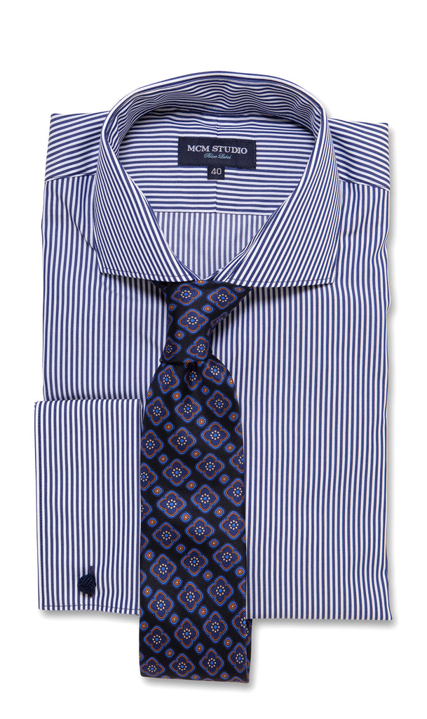 Alba Navy Stripe - Men's Slim Fit/ French Cuff - MCM Studio