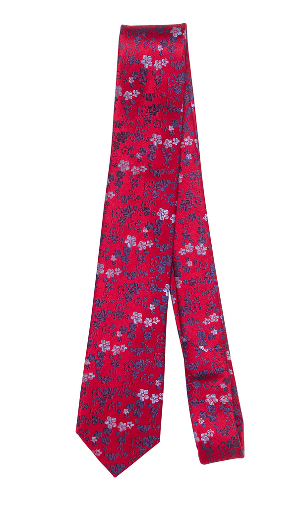 Aix Red Floral Tie by Daniel Hechter Paris