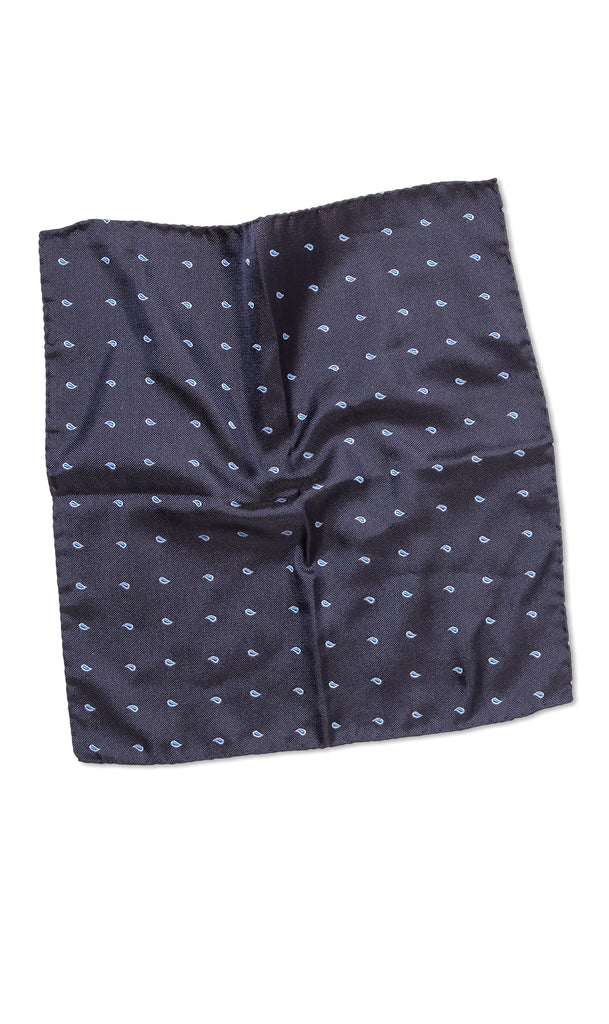 Positano Navy Blue Pocket Square - MCM Studio