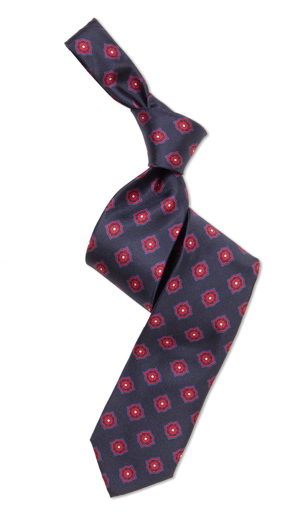 Cerrini Tie Navy Red Medallion - MCM Studio