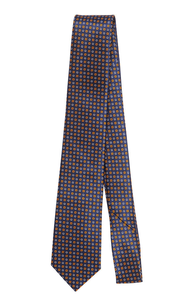 Bourges Navy Orange Tie by Daniel Hechter Paris