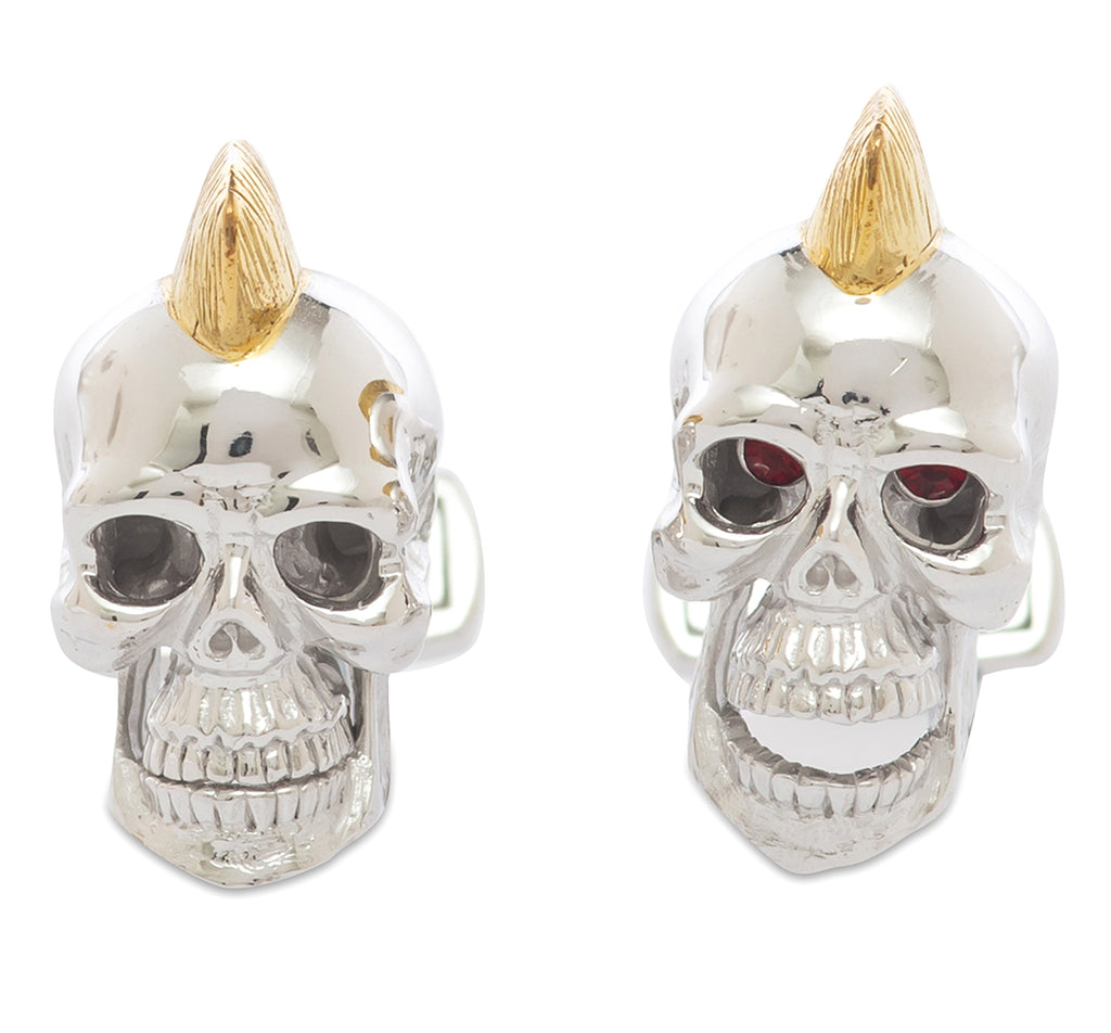 Red-Eye Skull Sterling Silver Cufflinks