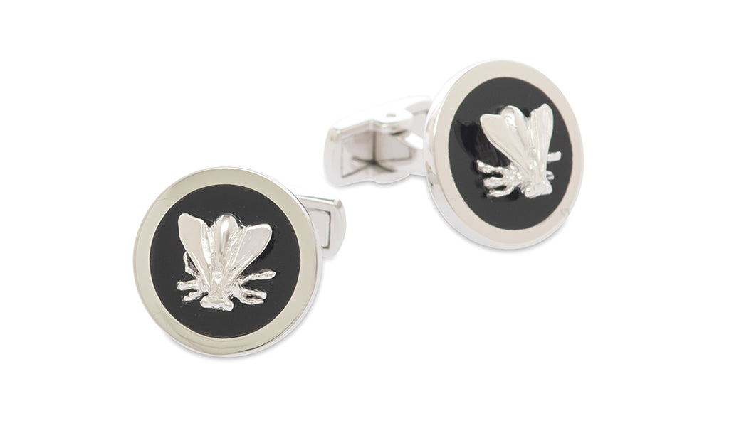 Sterling Onyx Bee Plate Cufflinks