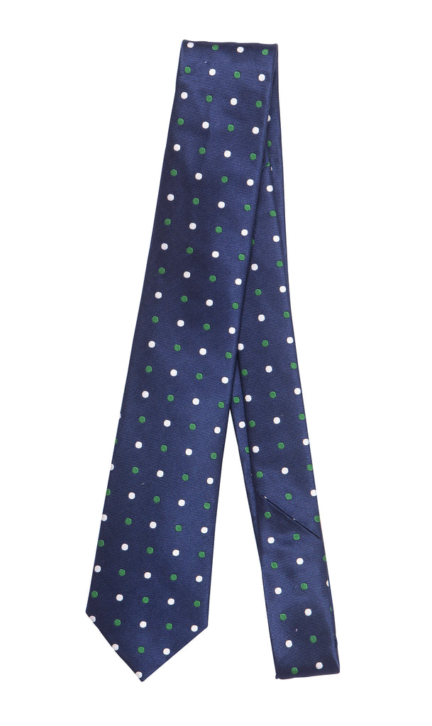Bordeaux Blue Emerald Polkadot Tie by Daniel Hechter Paris