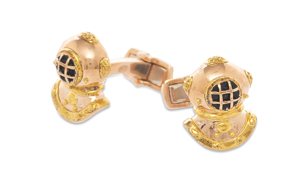 Sterling Rose Gold Diver Cufflinks - MCM Studio